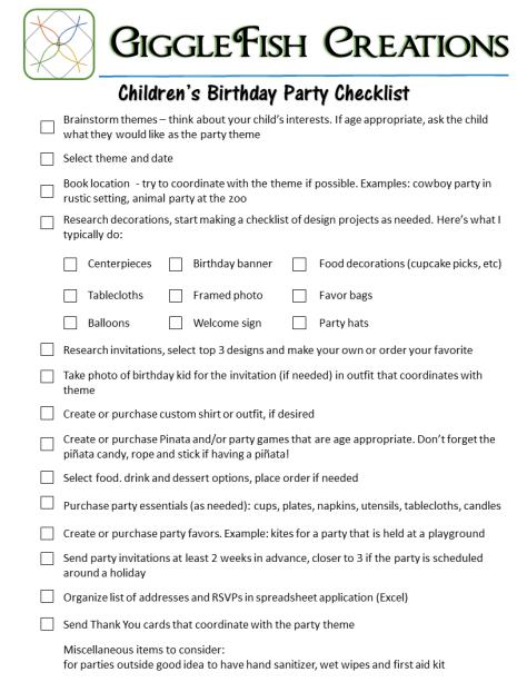 Children's Birthday Party Checklist