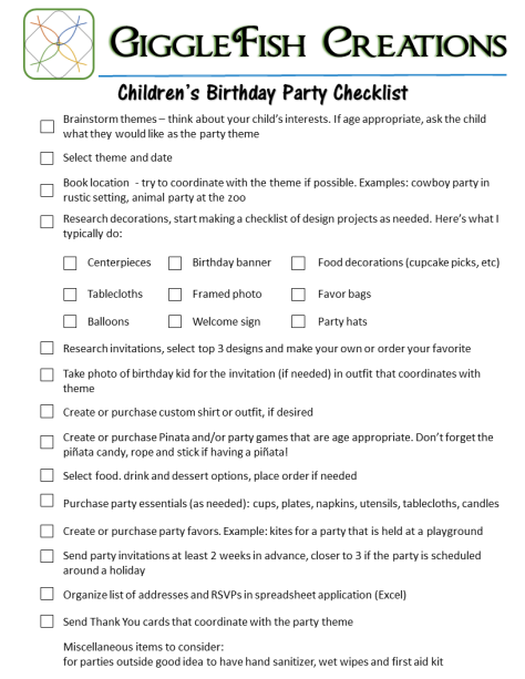 Children's Birthday Party Checklist