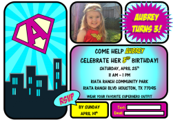 Girl Superhero Invitation_GiggleFish Creations